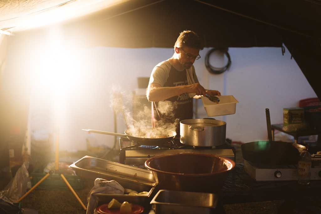 Chef preparing the food for 100 hungry tired riders, always well received.