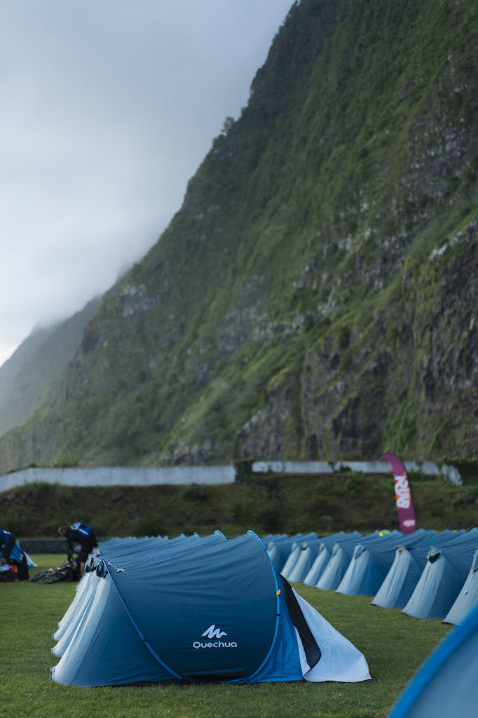 Campsite where the day began under the huge cliffs of the north coast.