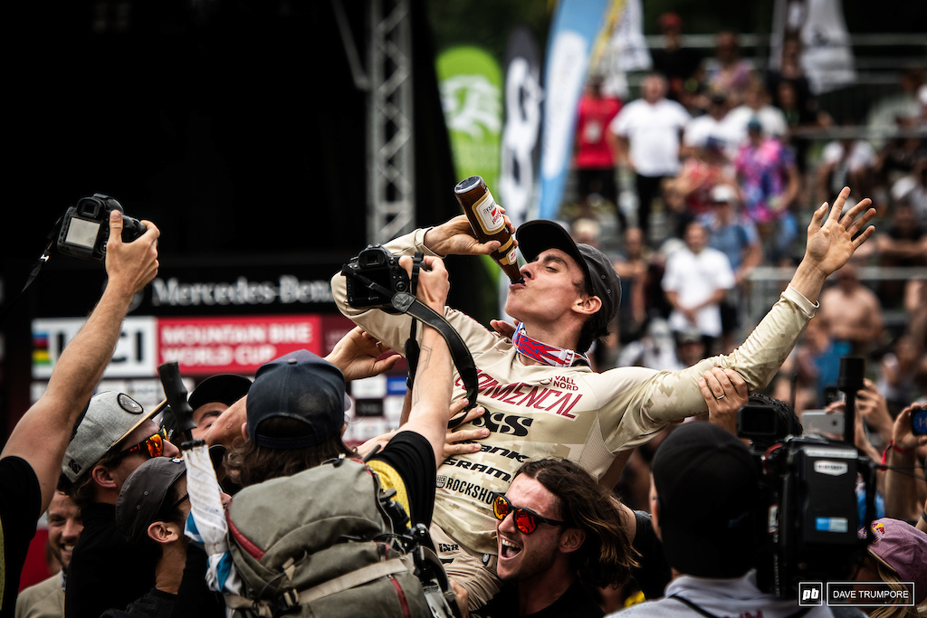 One week later and it s a similar scene in the finish arena as Amaury Pierron celebrates a win on the shoulders of his Commencal teammates.