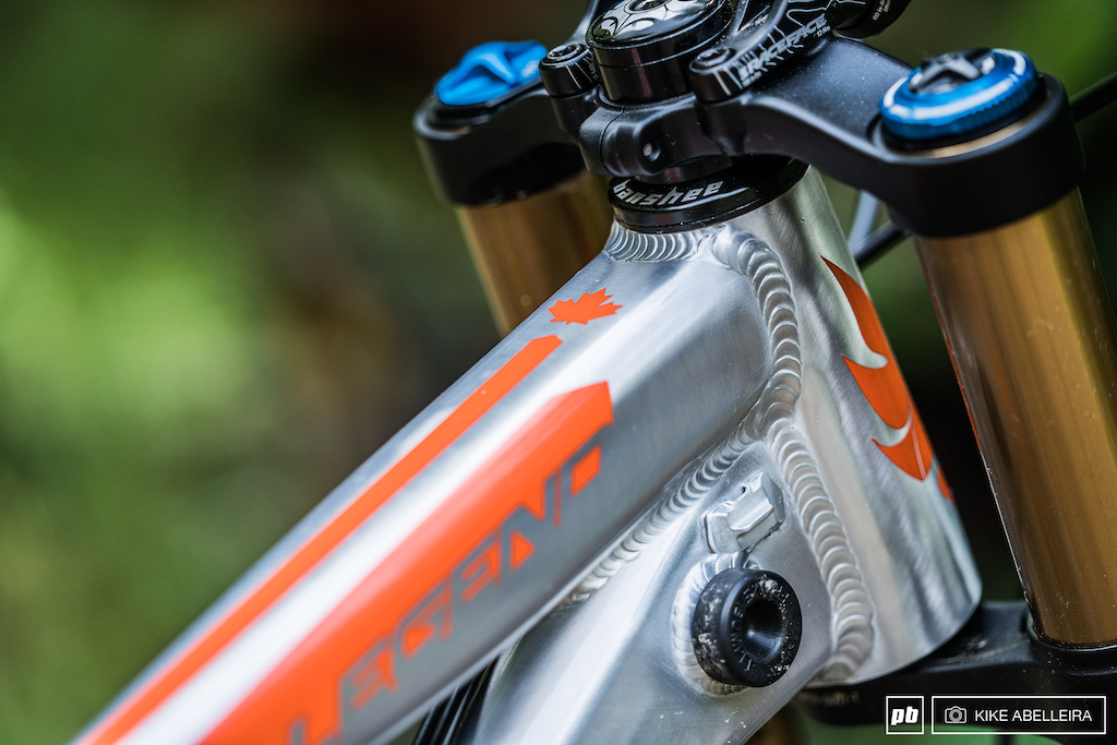 Banshee Legend 29 Review - the frame has a tapered headtube and integrated ODI for bumpers