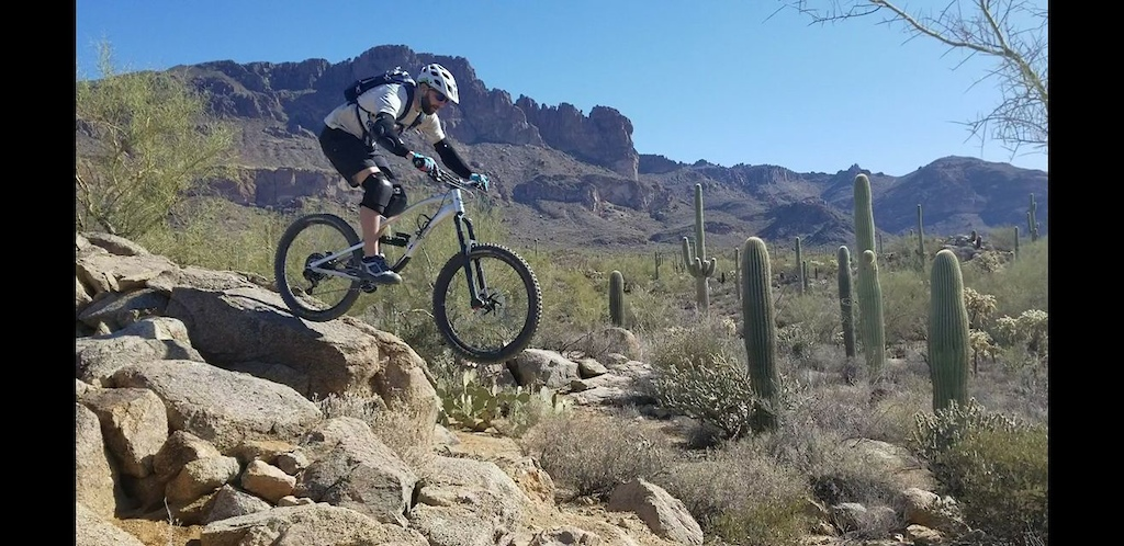 Playing on some rock features on the Tech loop, just off K-trail at Gold Canyon.