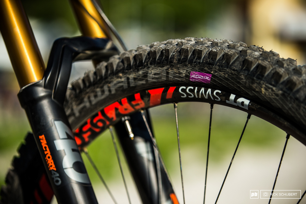 Max is a fan of the Schwalbe Addix ultrasoft compound riding the Magic Marry 2.35
