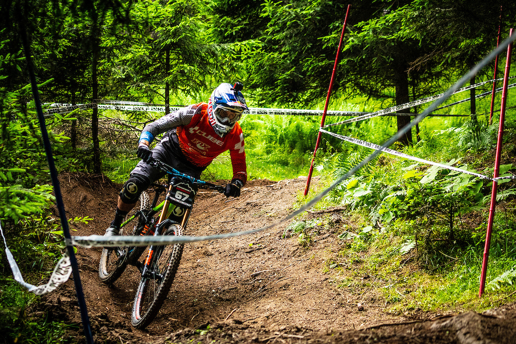 "Greg Callaghan, as well know it, is a successful enduro racer. But having Cube Bikes just releasing a brand new 29 DH frame, he could not resist and put it to the test. in his own words: ""Would love another crack at one of these with some more bike time and to iron out some mistakes. Pretty happy to not be a million miles off the pace all the things considered."""
