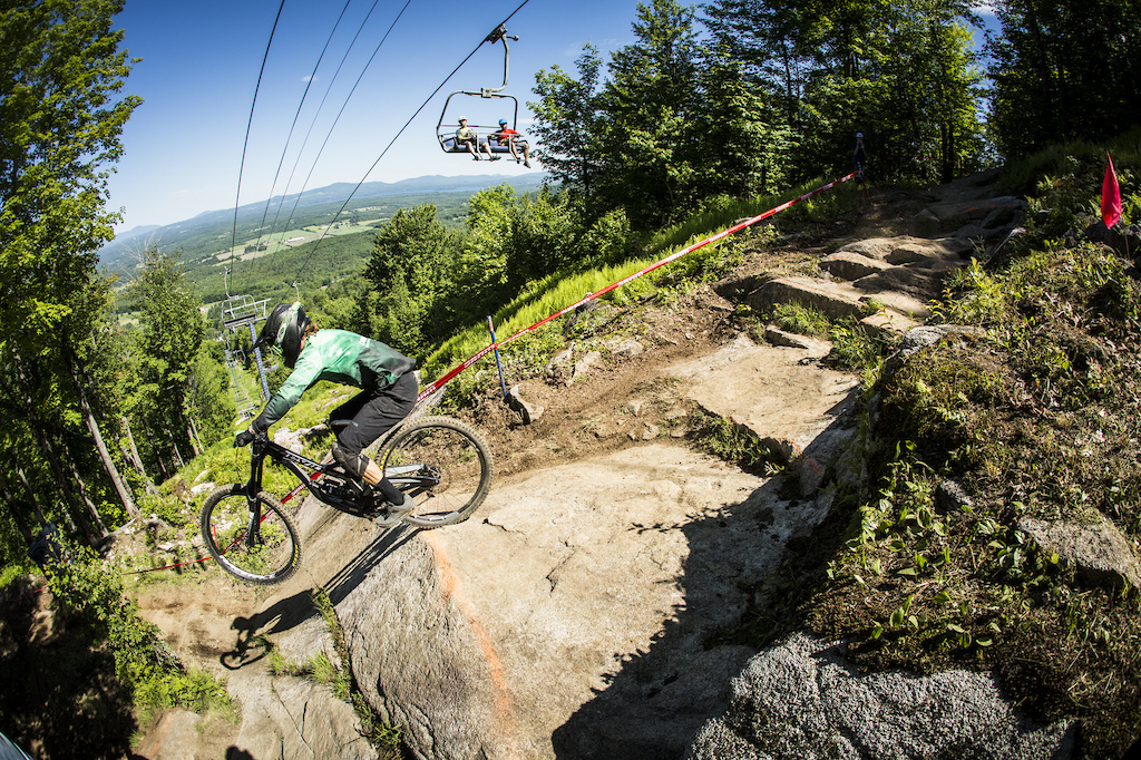 Jon Lefrancois sending the rock slabs on the old World Cup part of the course.