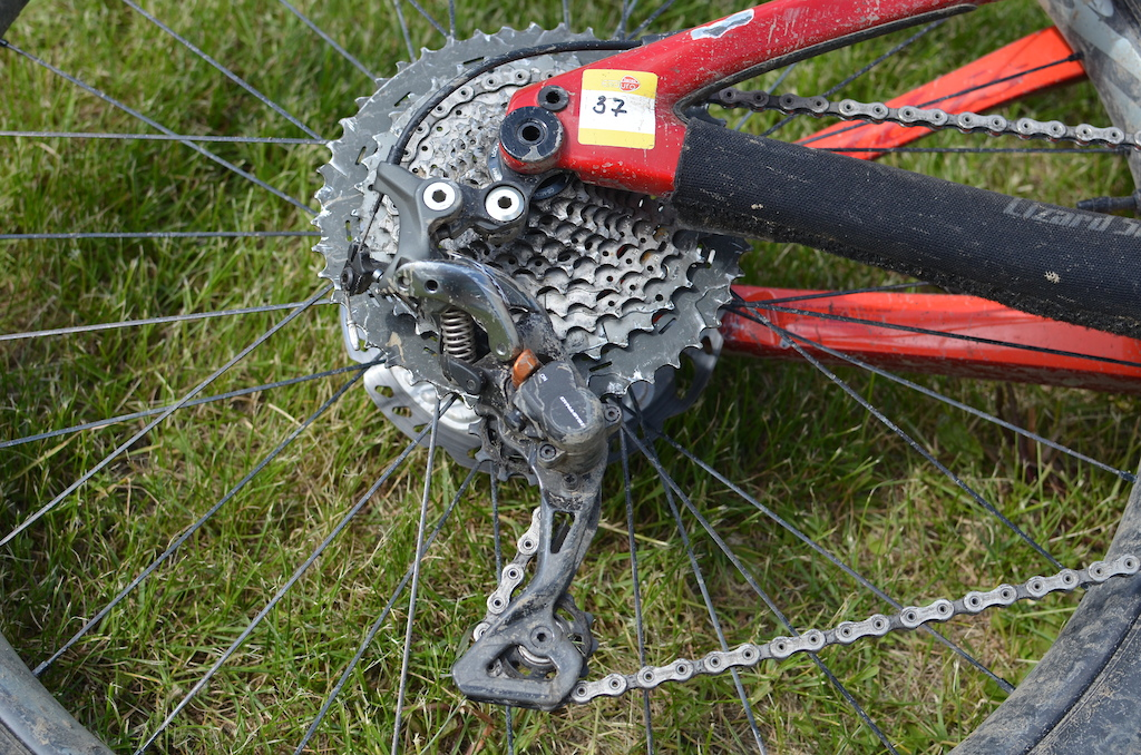 A hammered XTR runs the rear transmission it has seen some battles already