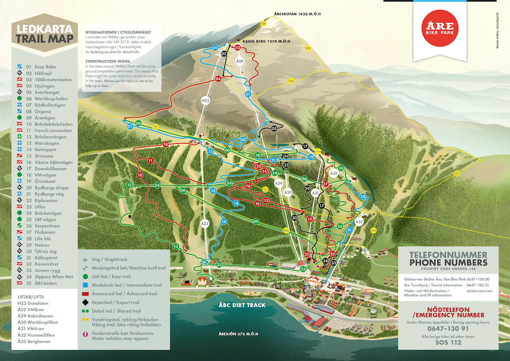 re Bike Park trail map
