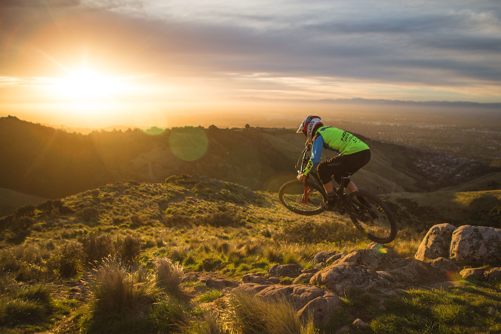 Sam Blenkinsop riding Lava Trail Christchurch at sunset. Taken whilst shooting the launch video photos for the Aurum HSP