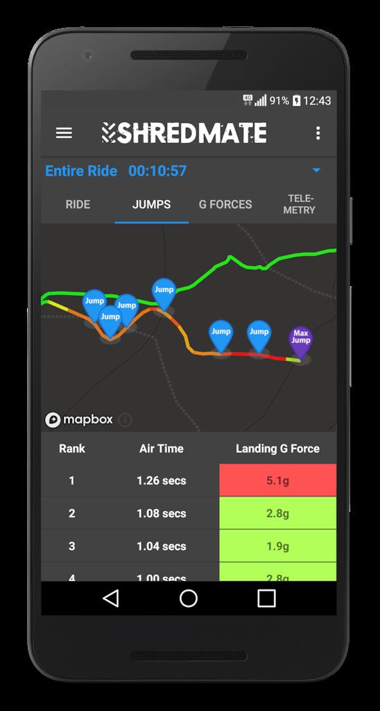 Shredmate app showing jumps