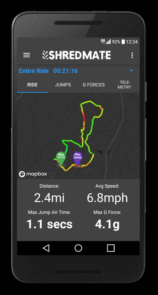 Shredmate app showing route