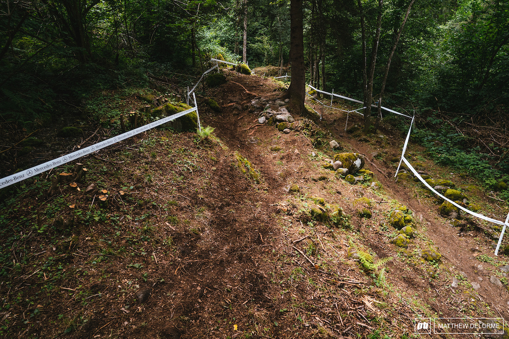Not just a straight single track anymore. A-line over the rocks straight down the middle. Lookers right is going to cost bike lengths.