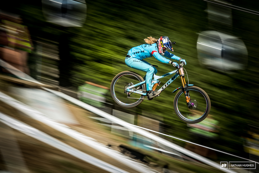 Rachel Atherton had the big W in the bag all the way up to the finishing field where 0.1s would slip through her fingers.