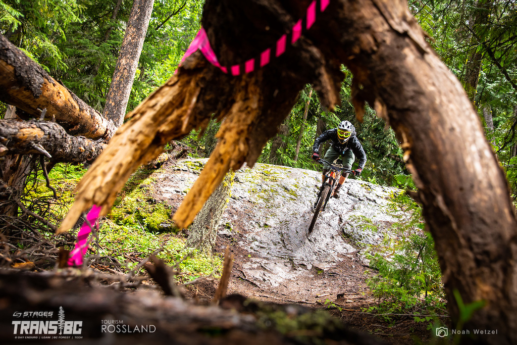 Rider races stage 2 on day 2 of the 2018 Trans BC Enduro in Rossland BC.
