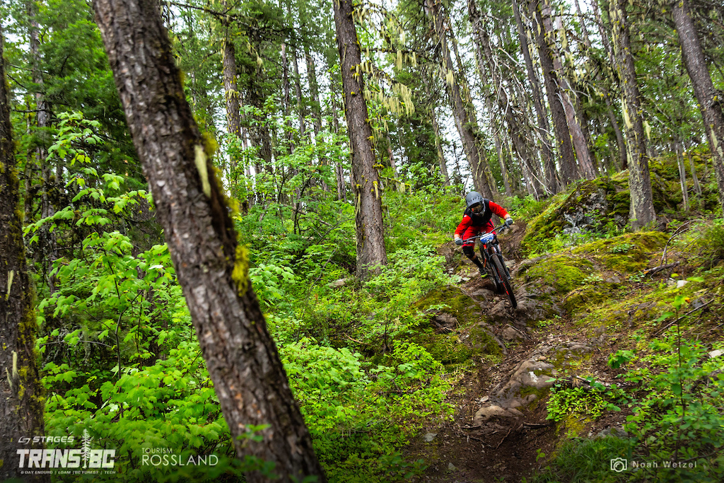 Rider races stage 4 on day 2 of the 2018 Trans BC Enduro in Rossland BC.