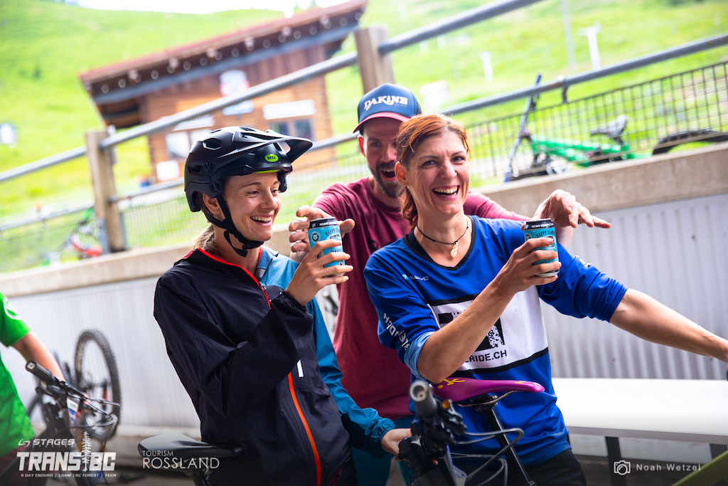 Riders are surprised with cold beer after a long day 2 of the 2018 Trans BC Enduro in Rossland BC.