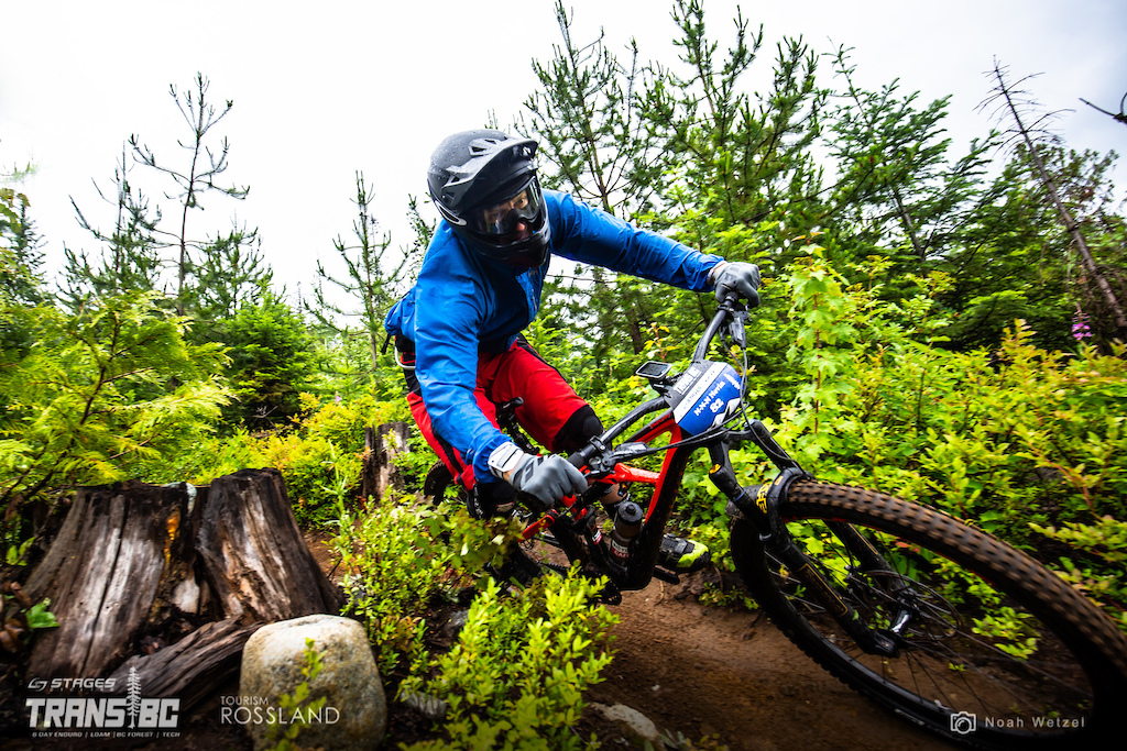 Rider races stage 2 on day 2 of the 2018 Trans BC Enduro in Rossland BC Canada.