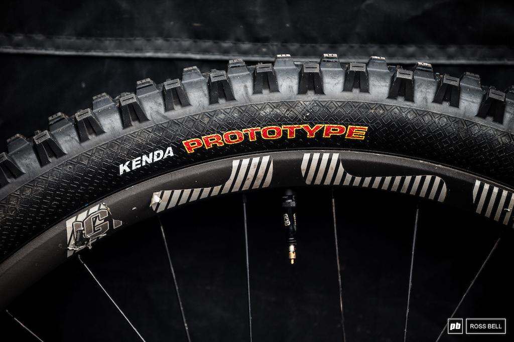 We spotted some prototype Kenda tires in the Polygon UR pits.