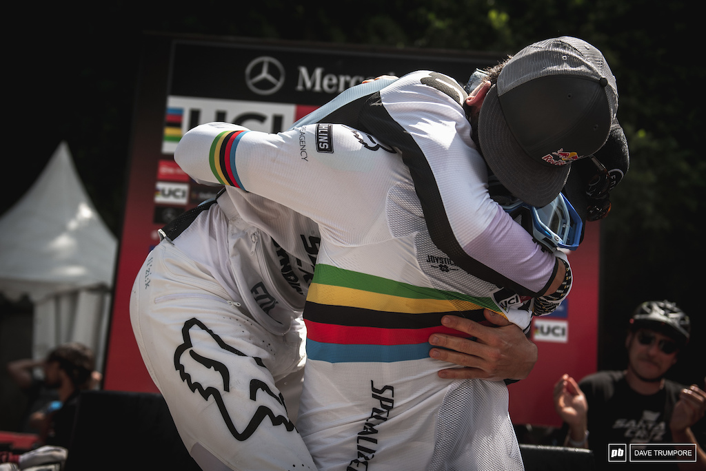 A very similar photo was taken here in 2015 when Loic Bruni won World Chamionships. Today it was a similar embrace between two childhood friends but this time to celebrate Loris Vergier first World Cup win. These two guys have been through it all together and have and shared in each others victories and defeats. And always with a touch of class.