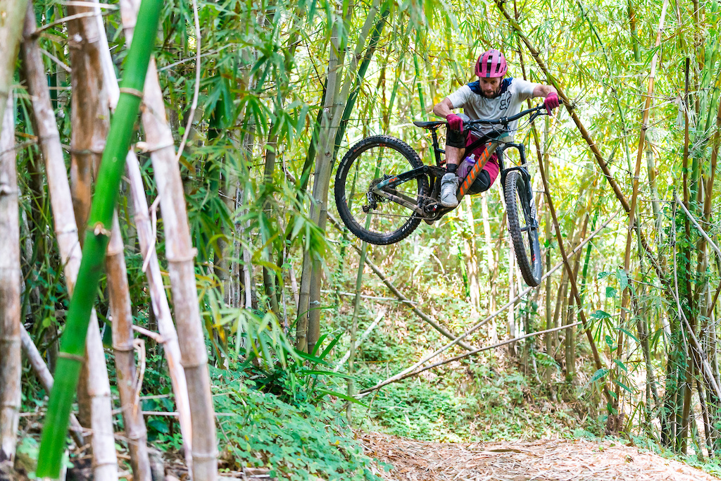 Kirt Voreis whipping through the bamboo in the Blue Mountains of Jamaica.
