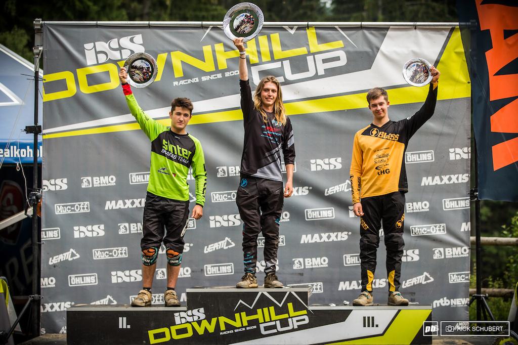 Podium U19 male with Zak Gomilscek, Patrick Butler and Max Meinhold