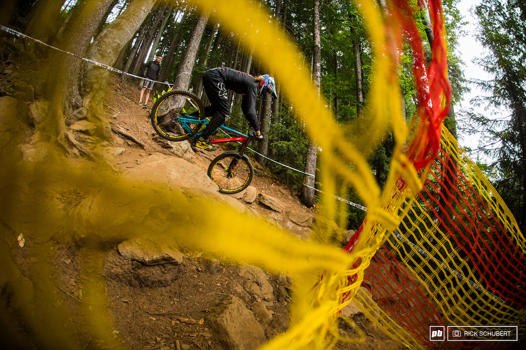 This tight right hander needed some enduro skills as the riders had to lift their back wheel