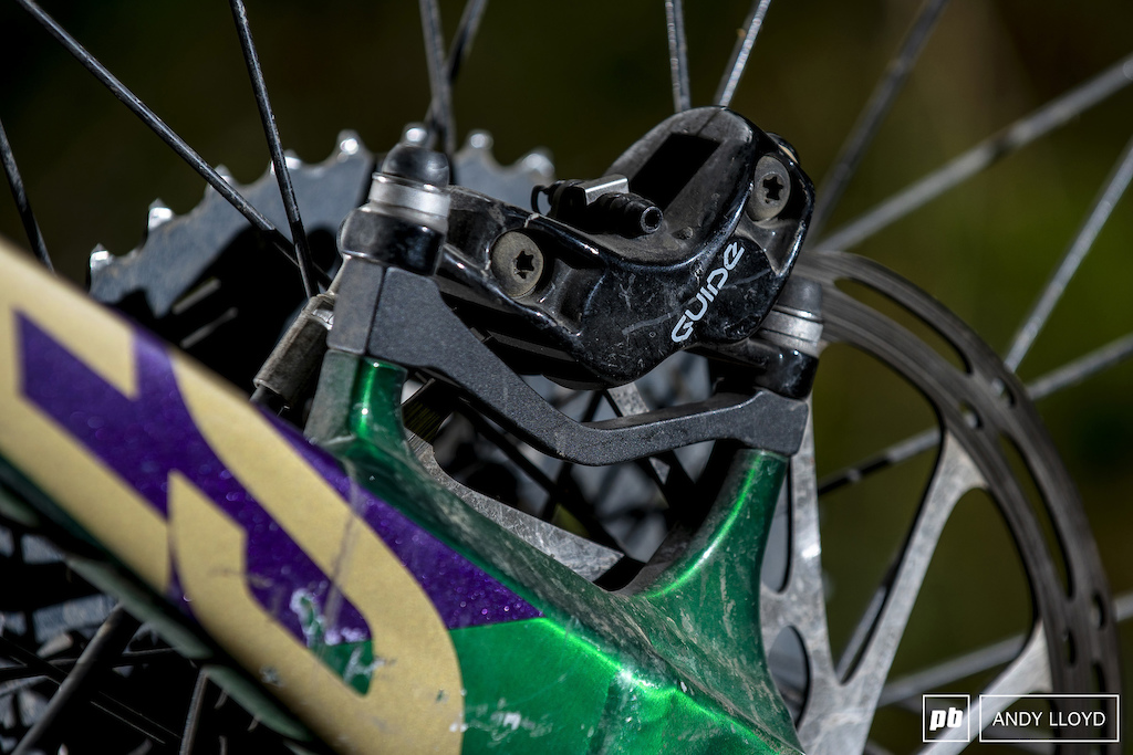 The Guide R brakes are a weird choice for a downhill-orientated bike and left me constantly wishing for more power. The Guide RE Guide lever Code calliper would have been a better choice. PIC Andy Lloyd www.andylloyd.photography