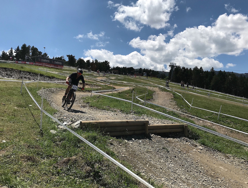 Szymon racing the 2018 Masters World Championships in Vallnord.