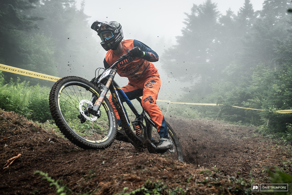 Youngster Nik Nestoroff is looking pretty good in the mud for a SoCal kid.  Perhaps all that time riding in the rain on the World Cup circuit will pay off here in Vermont.