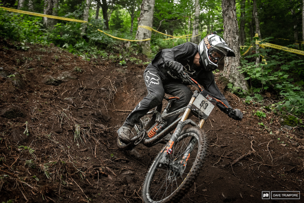 Bas Van Steenbergen rips through some fresh dirt on the steepest section of track.