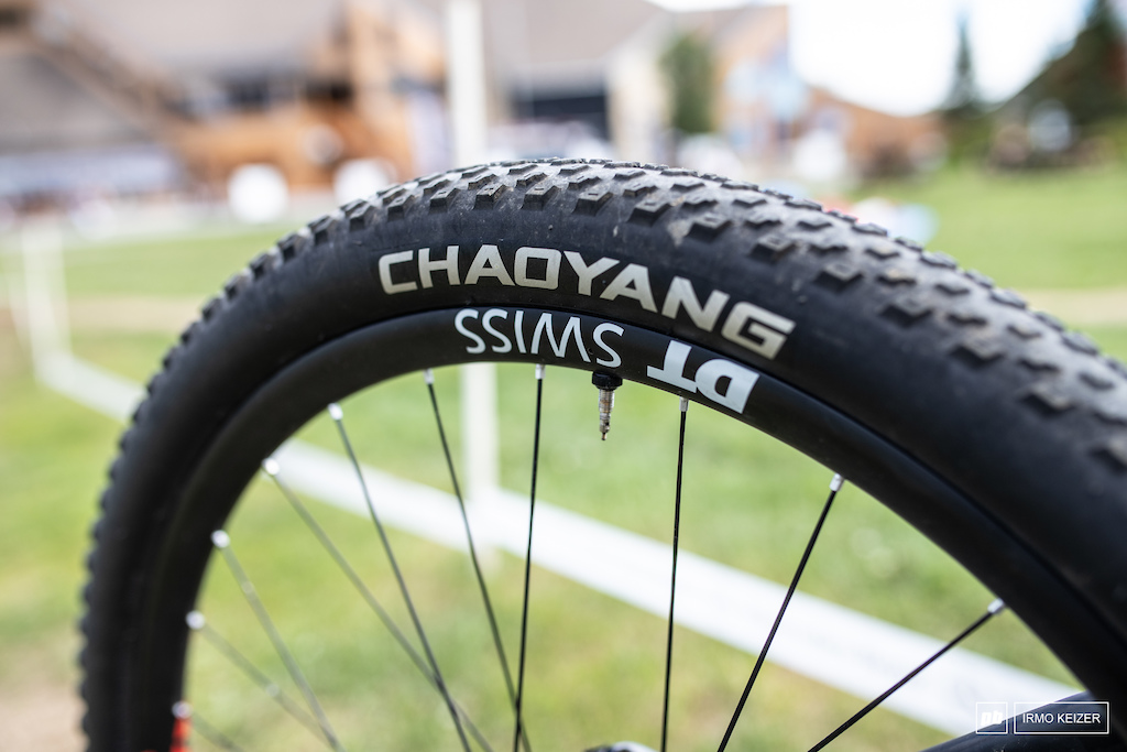 DT Swiss XR25 wheels with Chaoyang tires. Chaoyang is in the process of developing its own lineup of rubber.