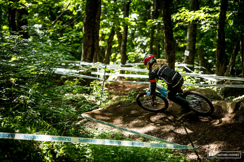 Rachel Atherton is up some 14 seconds on Myriam Nicole but has 2.5 to find to catch Seagrave tomorrow.