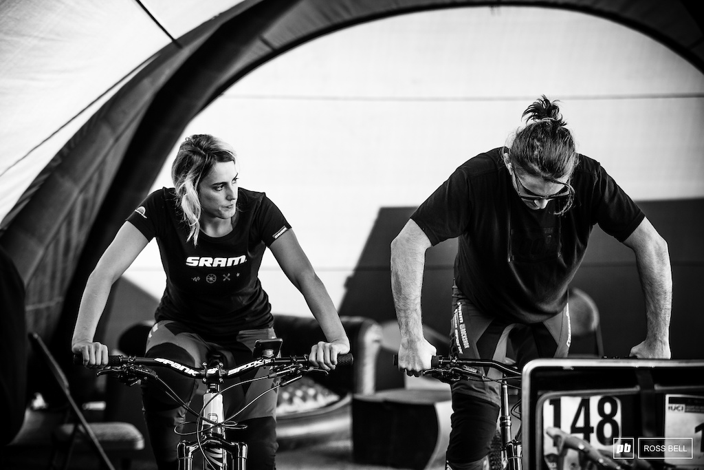 Commencal s Myriam Nicole and Thibaut Daprela get stuck into their morning warm up.