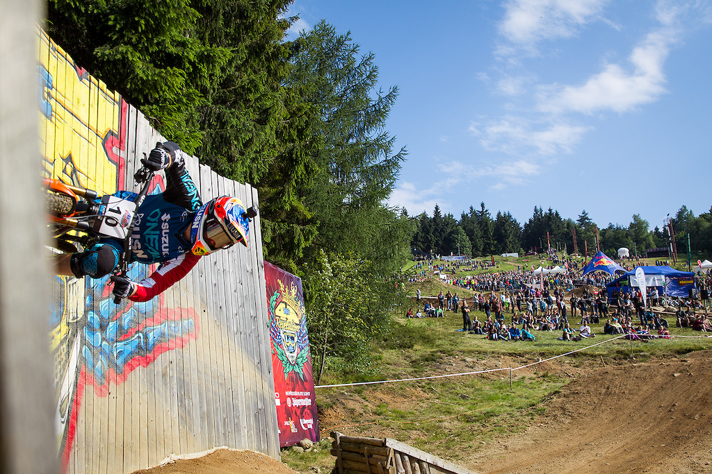 Rider introductions during round 4 of the 2017 4X Pro Tour at JBC Bike Park Jablonec Scotland Czech Republic on July 15 2017. Photo Charles A Robertson