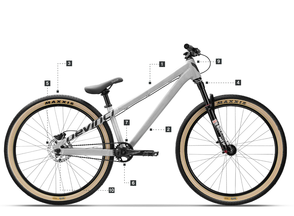 6066-T6 Aluminum frame – Made in Canada 2. Optimized wall thickness for  increased durability 3. 26   wheels 4. Pike Dj fork with 100mm of travel 9d5ffa1dd