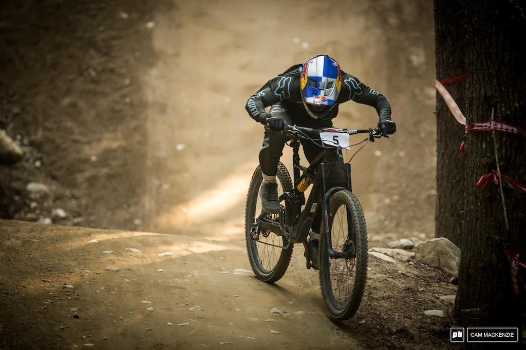 On Miranda's medium sized trail bike, Finn pumped, whipped and scrubbed his way to the win, and on his birthday.