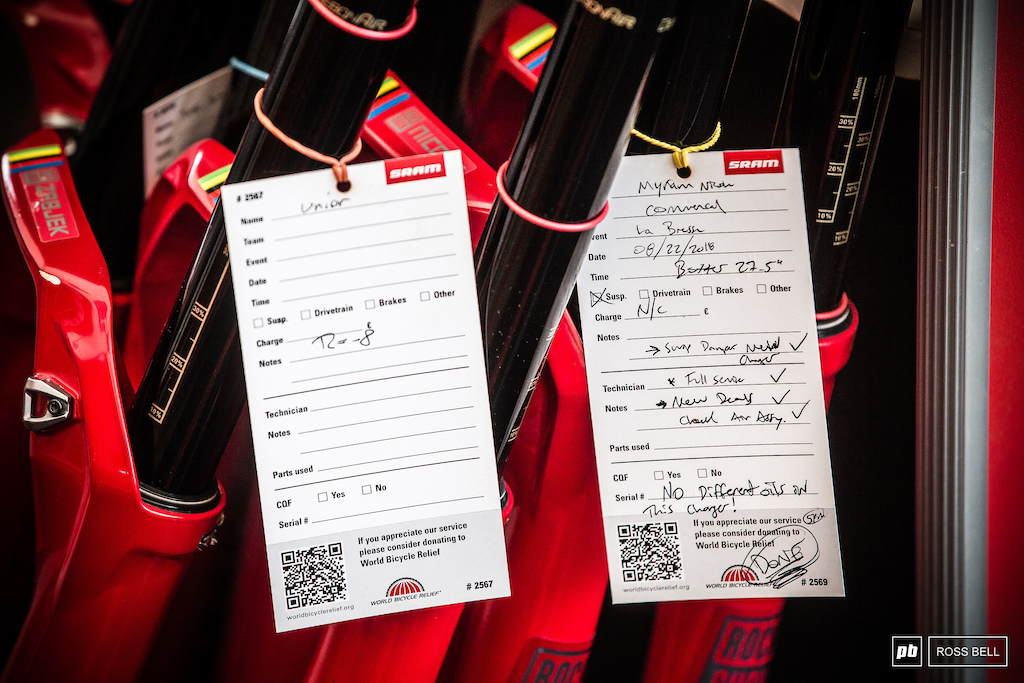 Myriam Nicole s service check list for her Rock Shox Boxxers.