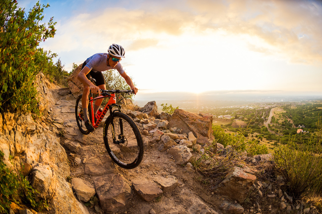 Russell Finsterwald rides his Niner AIR 9 RDO on a trail near Colorado Springs