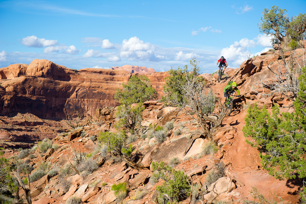 Kyle Mears and Tyson Swasee riding on the Captain Ahab trail in Moab Utah. Tyson had just finished the trail in the months before and it was quickly becoming the new trail that everyone had to ride when they went to Moab.