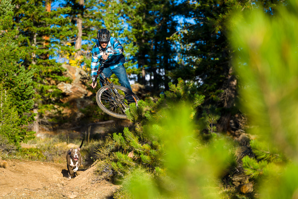 Nate Adams and his dog Scout on the Dadd Gulch Trail on a beautiful fall day. We d been hoping for a little more color on this shoot and while there were definitely some sections of trail that had amazing yellows in the background this shot definitely won the day.