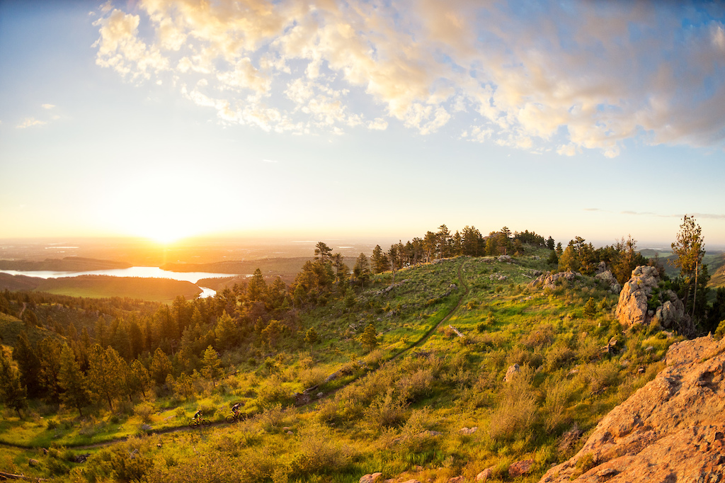 Sunrise over the Midwest is one of my favorite views in Fort Collins, and this is probably my favorite image of it. Garrett Gerchar and Brad Cole riding Stout Trail at Horsetooth Mountain Park near Fort Collins, CO
