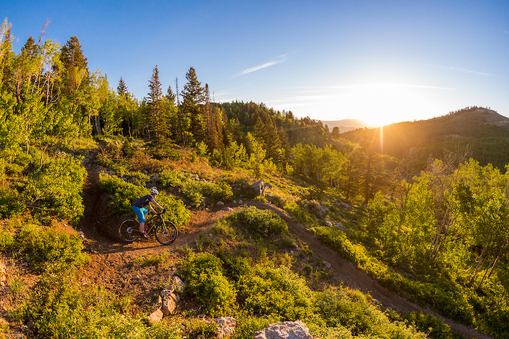 More sunrise awesomeness, this time with Brandon Turman at Deer Valley, Utah during the Press Camp event. I often shot photos of editors for bike reviews, this was for something Brandon was working on for VitalMTB.