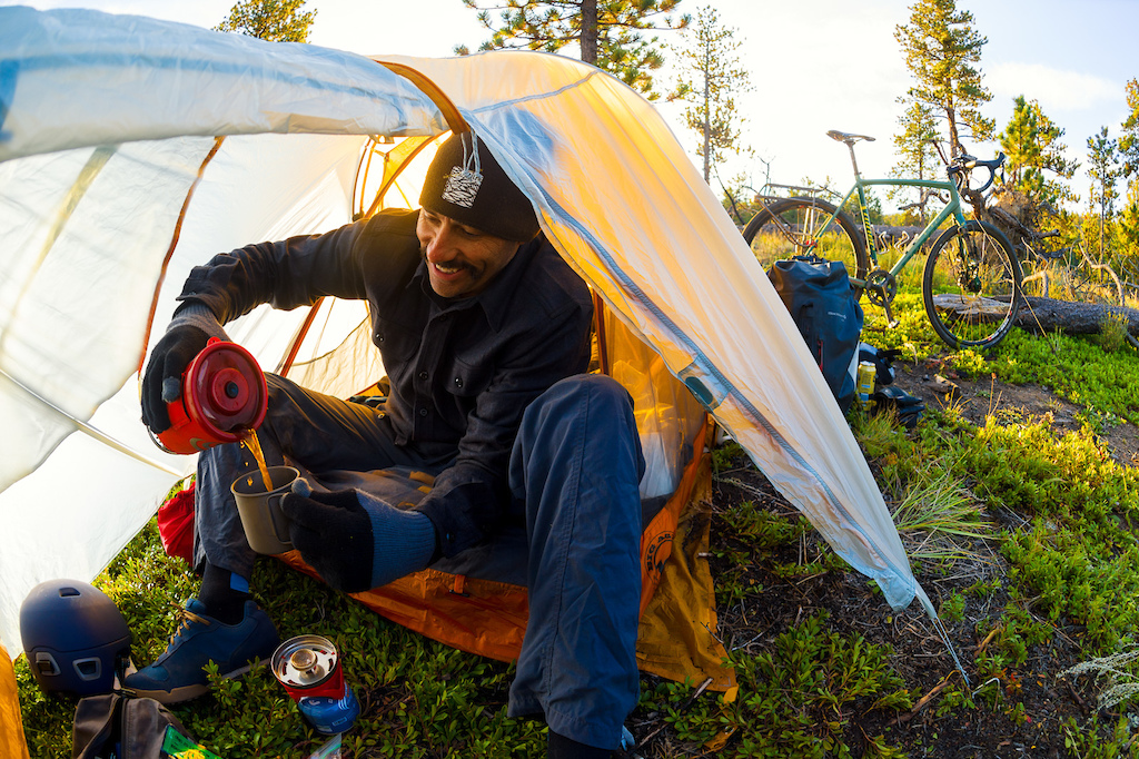 When Kelpie Cycles owner Colin organized the Steamboat Ralleye Ride in 2015, Niner jumped on board as an opportunity to test and photograph the new Niner Gravel RLT 9 and RLT 9 Steel gravel bikes. This shot of Henry Horrocks pouring his morning coffee near Pingree Park is still one of my favorite bike packing shots.