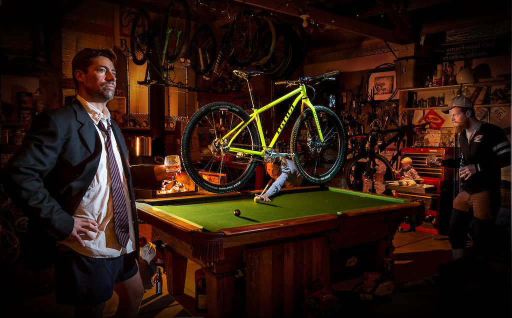 """A composite image based on a concept we came up with for the caption """"A SIR and a gentleman"""" to promote the SIR 9 steel hardtail. There is a lot going on in this image and it's a composite of a lot of different shots, all lit and composed seperately with the camera on a tripod."""