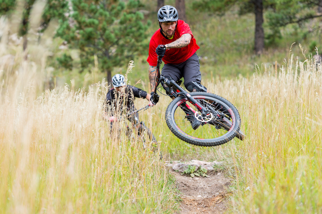 Nate Adams and Stu Travis ride the Niner Bikes WFO 9 on the Spring Creek Trail in Horsetooth Mountain Park