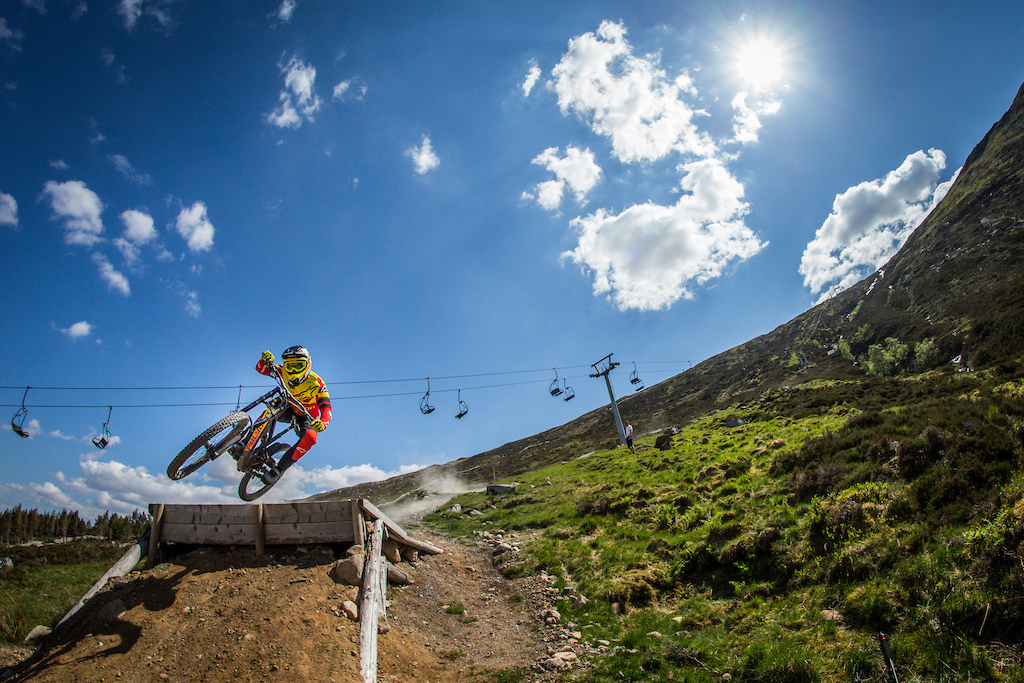 Mick Hannah at the press camp for the new Polygon DH bike.