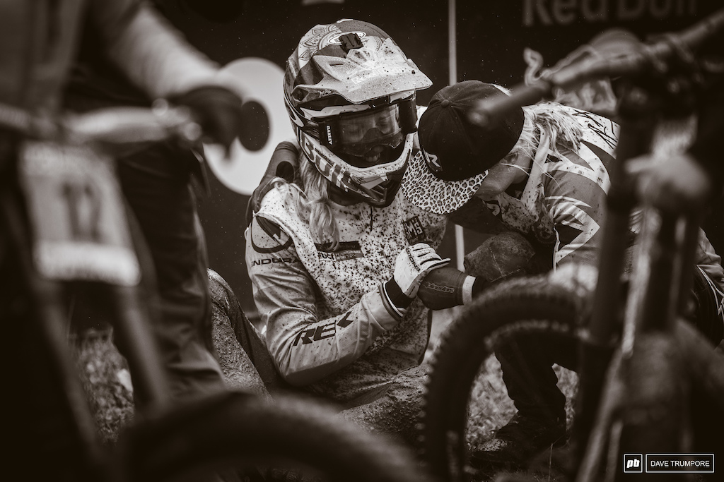 It took a massive effort from Rachel Atherton to take the win today and she needed a few moments to catch her breath before celebrating her overall WC title.