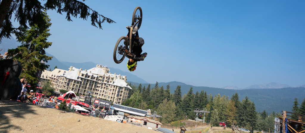Flipping the final A line jump during Crankworx