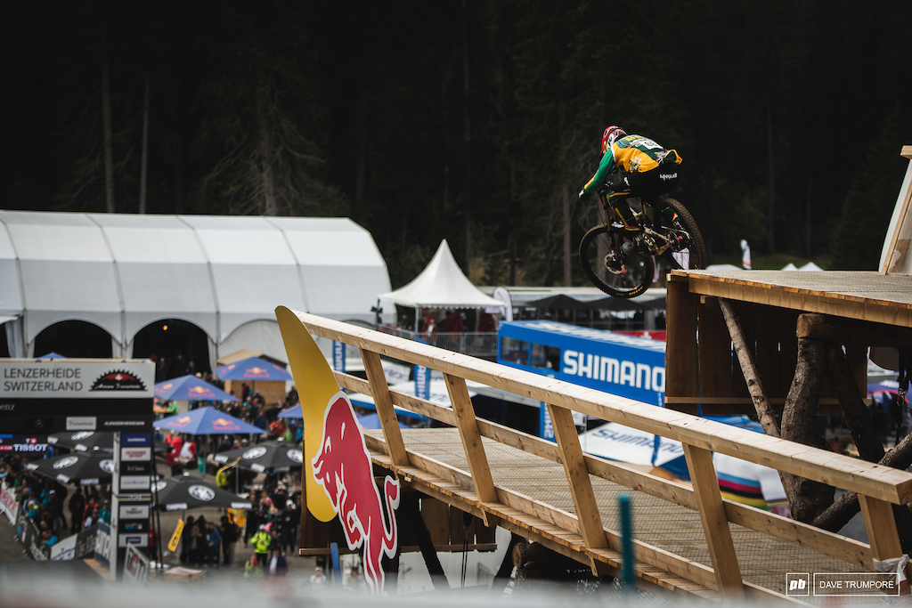 Greg Minnaar sends the big Red Bull drop into the finish line.  The two time winner here in Lenzerheide would end the day in 30th.