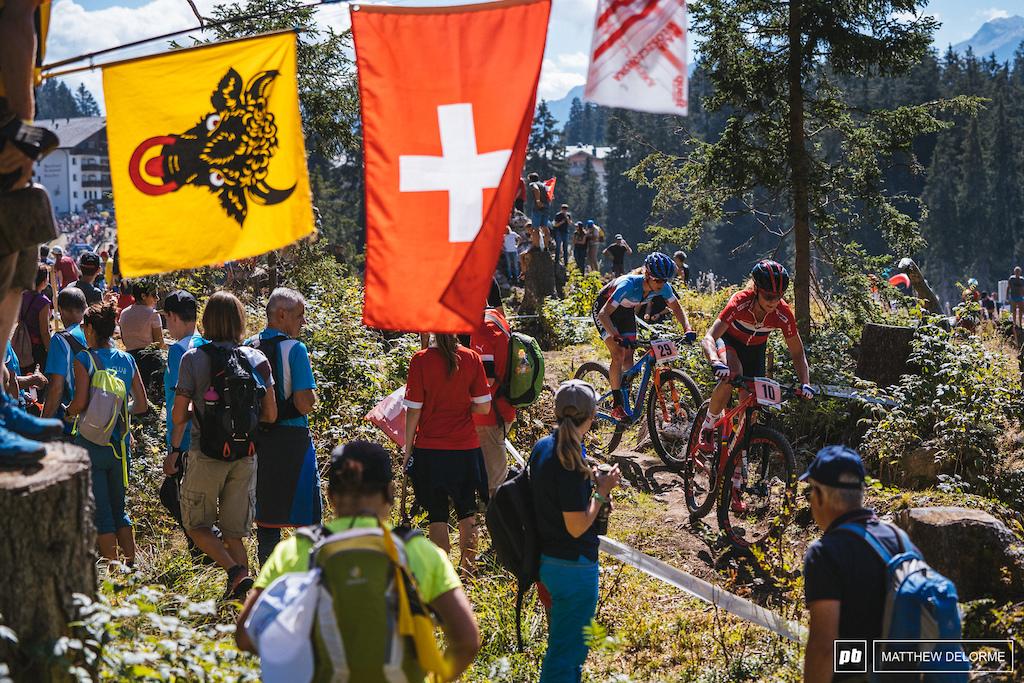 Gunn Rita leads Pendrel on lap five. Gunn Rita had a win in Andorra and was a dark horse here in Lenzerheide.