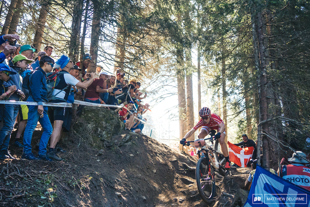 Annika Langvad had the power but when it came down to it the technical riding got the best of her.