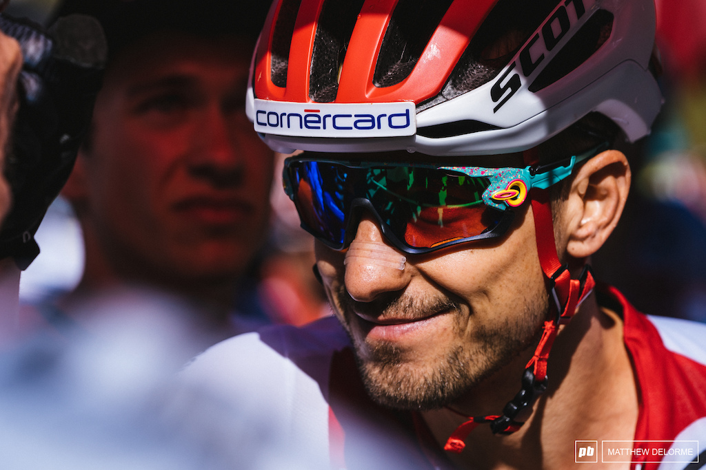 The confident smile of Nino Schurter. It says it all.